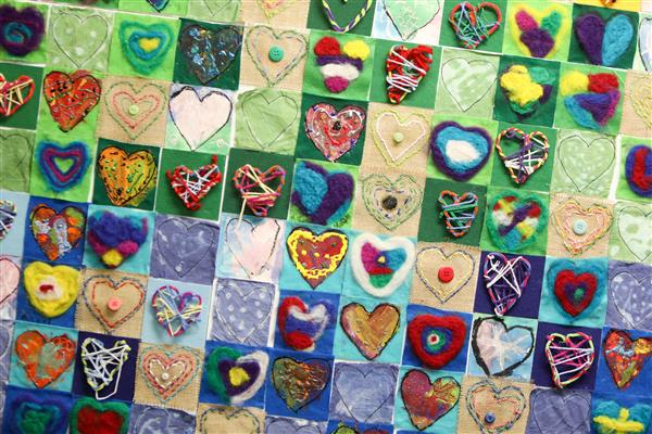 quilt with hearts